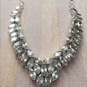Jewelry - Green amethyst and silver tone necklace.